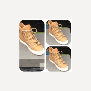 GIUSEPPE ZANOTTI TAN HIGH TOP BUCKLE SHOES